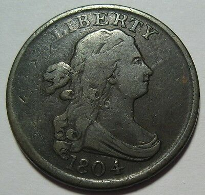 = 1804 F/VF Half Cent, Nice Details & EYE Appeal, FREE Shipping