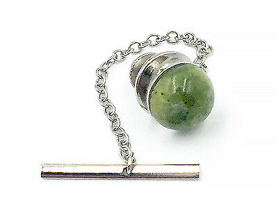 Irish Connemara Marble Tie Tack Pin - Silver Plate with Jewelry Velvet Pouch