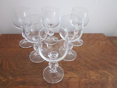 6 x DIAMOND CUT BOHEMIA CRYSTAL WINE GLASSES IN CLAUDIA DESIGN