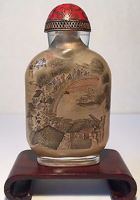 Antique Chinese Inside Painted Peking Glass Snuff Bottle & Original Box, Qing