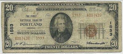1929 US $20 National Currency Note Brown Seal * Portland Oregon Low Serial #