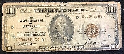1929 $100 One Hundred Dollar Note FRB Cleveland Ohio Federal Currency