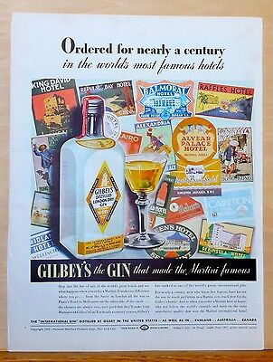 Vintage 1939 magazine ad for Gilbey's Gin - Gilbey's bottle & travel stickers