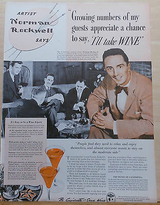 Vintage 1940 magazine ad for Wine - artist Norman Rockwell serves wine to guests