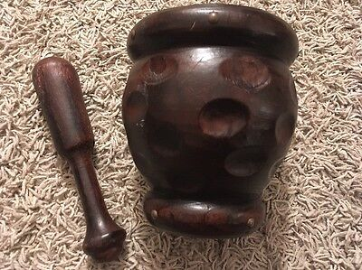 "Hand Carved Wooden 6"" Mortar And Pestle"