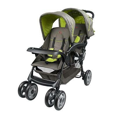 Br New Deluxe Tandem Hi Rise Tandem Layback Newborn Baby Toddler Double Stroller