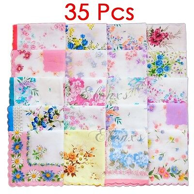 35Pcs Vintage Women Quadrate Floral Cotton Handkerchiefs Wedding Party Hankies