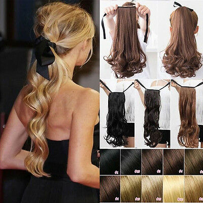 One Piece Tie Up Ponytail Clip in Hair Extensions Thick Hairpiece for Girl Woman