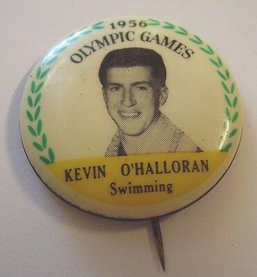 Vintage Olympic Games Melbourne 1956 Button Badge Kevin O'Halloran Swimming
