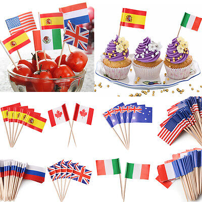50 Mini World Flag Pick Toothpick Fruit Cupcake Sandwich Cake Food Party Decor