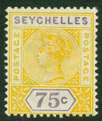 SG 33 Seychelles 75c yellow & violet. Fine mounted mint CAT £55