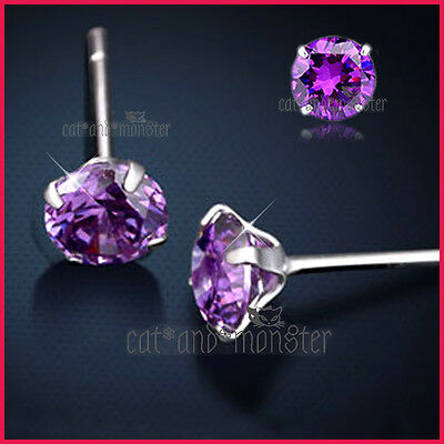 925 Sterling Silver Mens Lady Kids Birthstone Purple Amethyst Stud Earrings Gift