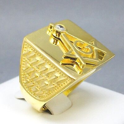 """Solid 925 Sterling Silver Men's Square Masonic Ring Size """"s½"""" 605"""