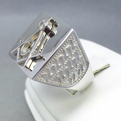 """925 Sterling Solid Silver Men's Square Masonic Ring Size """"t"""" 606"""