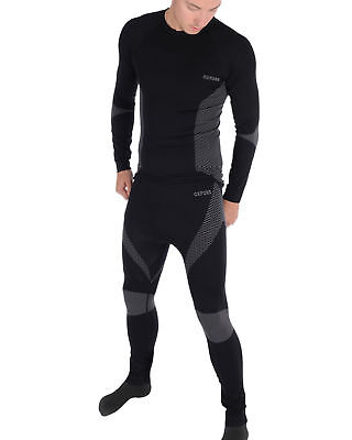 Oxford Knitted Motorcycle Motorbike Base Layers Trousers & Top Set Bundle Black