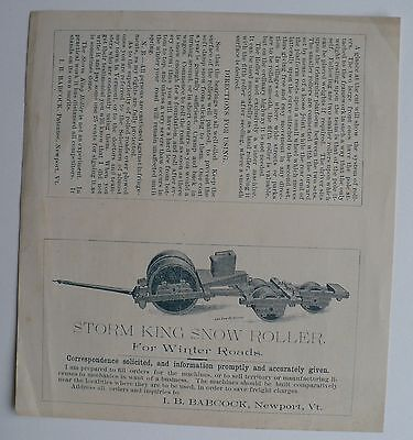 1800's Advertisement For Storm King Snow Roller Made In Newport Vermont