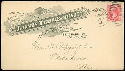 1896 NEW HAVEN CT, LOOMIS' TEMPLE of MUSIC CO Illustrated Advert Cover! SC #267!