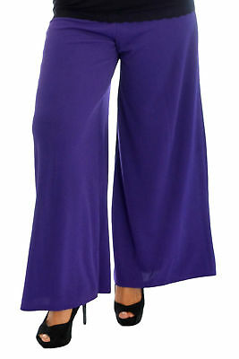 New Womens Plus Size Trousers Ladies Crepe Palazzo Wide Leg Pants Elasticated