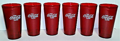 Lot of 6 COKE Coca Cola Glasses 20 oz Red Plastic Cups ~ Carlisle Model 5220