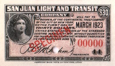$30 in GOLD COUPON from 1901 PUERTO RICO TRAM CO. SPECIMEN BOND! EXTREME RARITY!