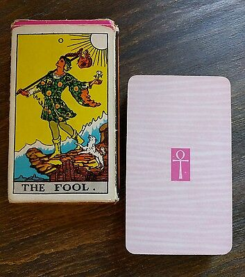 """The Fool"" University Books *Rider Waite* TAROT DECK Pink Ankh Backs OCCULT"