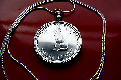"""Canada Silver Wolf Coin Pendant on a 30"""" 925 Silver Snake Chain"""