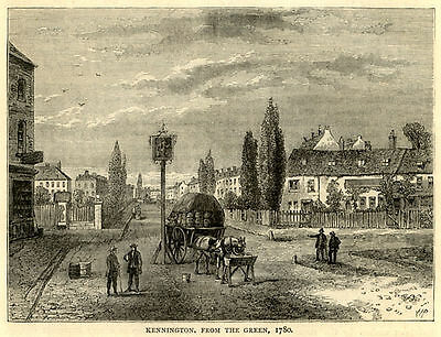 London Kennington from the Green ready mounted antique engraving SUPERB