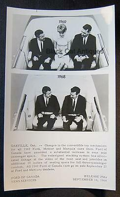 Orig 1968/69 Ford Of Canada B/W Glossy Commercial Photo Ford Convertible Seating