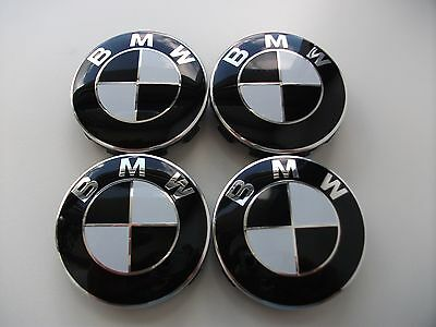 4x Bmw velgen zwarte center caps/naafdoppen/logos  68 mm