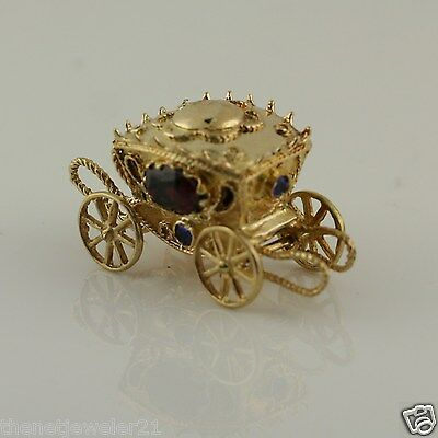 14K Yellow Gold Jeweled Decorative Miniature movable Coach Vintage Rare