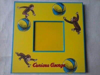Vintage Curious George Wooden Photo Picture Frame Yellow Blue Monkey Baby Kids