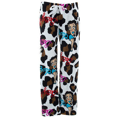 NEW Betty Boop White Leopard Print Pajama Pants for Juniors Fleece Size Large