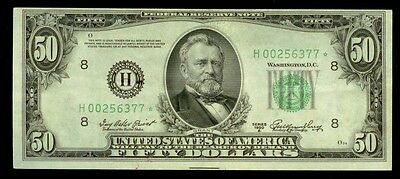 1950 A $50 Green Seal Federal Reserve Bank Of St. Louis Star Note Xf Condition