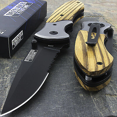 "8"" WOOD SPRING ASSISTED TACTICAL POCKET FOLDING KNIFE Blade Open Assist Serrated"