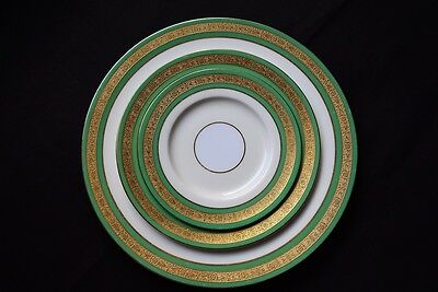 1930's MINTONS Bone China Ivory & Green Gold Encrusted 3 piece Place Setting
