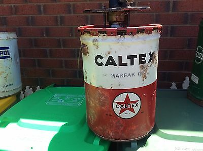 5 Gallon Caltex Tin Can With Oil Pump On Top