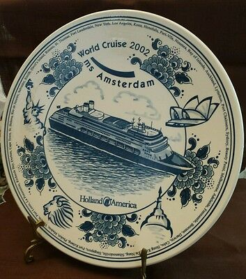 HOLLAND AMERICA MS Amsterdam SHIP LINER WORLD CRUISE 2002 Wall Plate BLUE DELFT