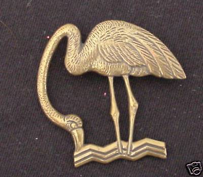 """FLAMINGO PIN Metal Detailed Vintage Pididdly Links Charm 1.5"""" Jewelry NOS"""
