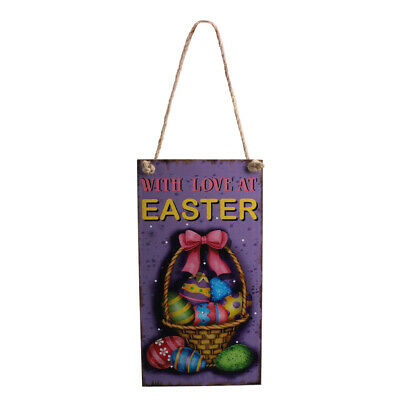 Vintage Wooden Door Wall Easter Welcome Spring Direction Sign w/ Ribbon Decor