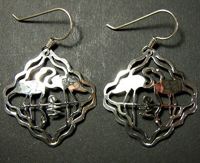 PINK FLAMINGO EARRINGS Wild Bryde Silver Silhouette of Pair Wading Birds Jewelry