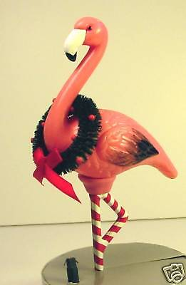 """PINK FLAMINGO LIGHT-UP ORNAMENT 6"""" Clip-On Tree or Wreath Dept 56 Holiday New!!"""