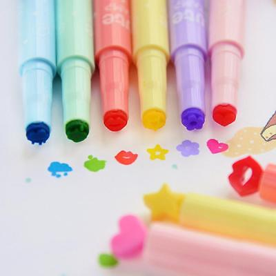 6pcs Painting Multishapes Candy Colors Pens Markers Stamps Highlighters