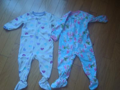 Lot of 2 EUC Pajamas warm overalls by Carters size 18 months