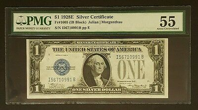 SCARCE 1928E $1 Silver Certificate Note, PMG 55 About Uncirculated w/ Writing