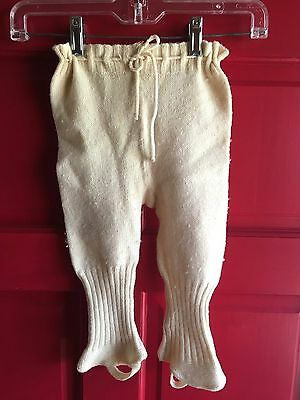 Estate Antique Handmade wool KNIT toddler boys stirrup Pants doll