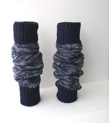 WOOL Mohair Hand Knit Thick Leg warmers in Navy Blue Fiber Art / USA