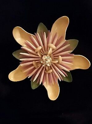 Antique Enamel Passion Large Flower Metal Brooch Pin Daisy Orchid Mid Century Vt