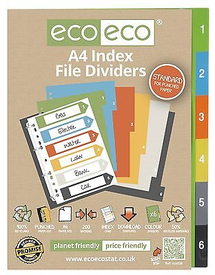 A4 File Dividers For Ring Binders 1-6 Index - 50% Recycled Plastic
