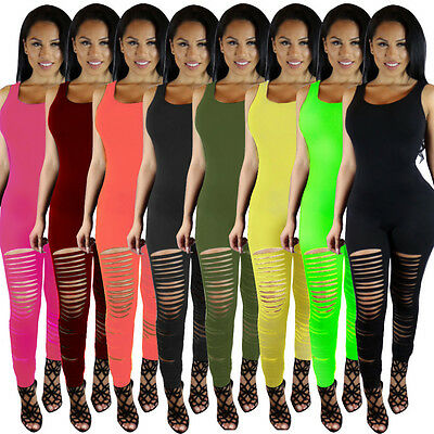 USA Women Casual Sleeveless Bodycon Romper Jumpsuit Club Bodysuit Long Pants