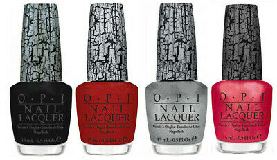 OPI Nail Lacquer Black Red, Pink, Silver, and Gold Shatter - Pack of 5 Bottles.